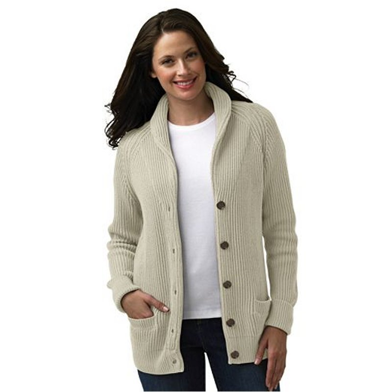 Women'S Cardigan Sweater With Collar - Cardigan With Buttons