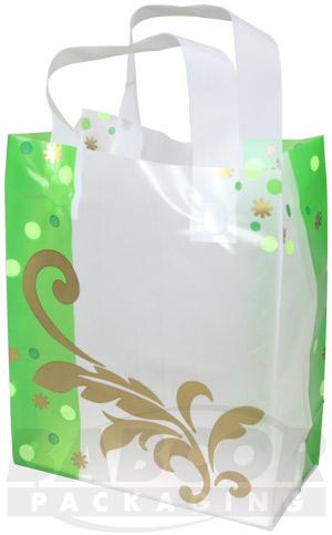 Buy Golden Flourish Print Frosty Plastic Shopping Bags
