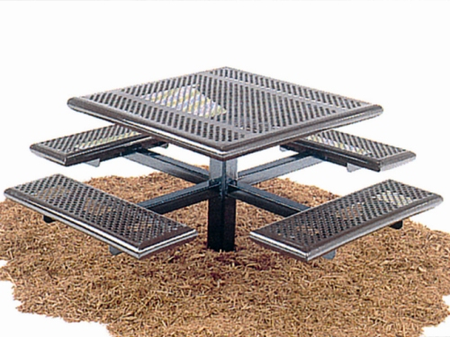 Superieur 4 Seat Square Pedestal Picnic Table, Iron Mountain Forge Buy ...