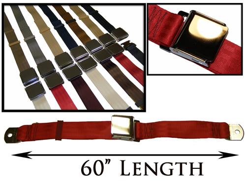 """Buy 2-Point Non-Retractable 60"""" Lap Belt w/Chrome Lift Latch"""