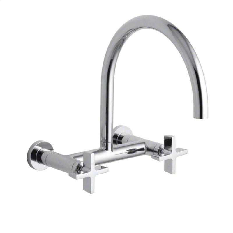 Buy Nickel Silver One Wall-Mounted Bridge Kitchen Faucet, Cross Handles