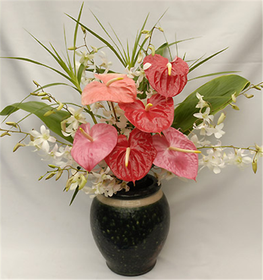 Buy 6 Small Anthurium, One Orchid Spray and Foliage Including a Glas Вouquet