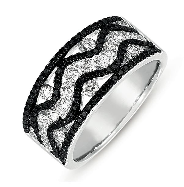 Buy D4275BLWG White Gold Black & White Diamond Ring