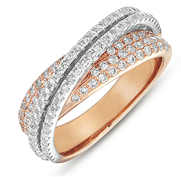 Buy D4208RW Pink & White Gold Fashion Diamond Ring