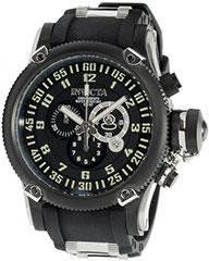 Invicta 0517 Mens Watch Black Stainless Steel Russian DIver Swiss Quartz Rubber Strap