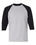 Buy Heather Grey Black 3/4 Sleeve Raglan Baseball T-Shirt