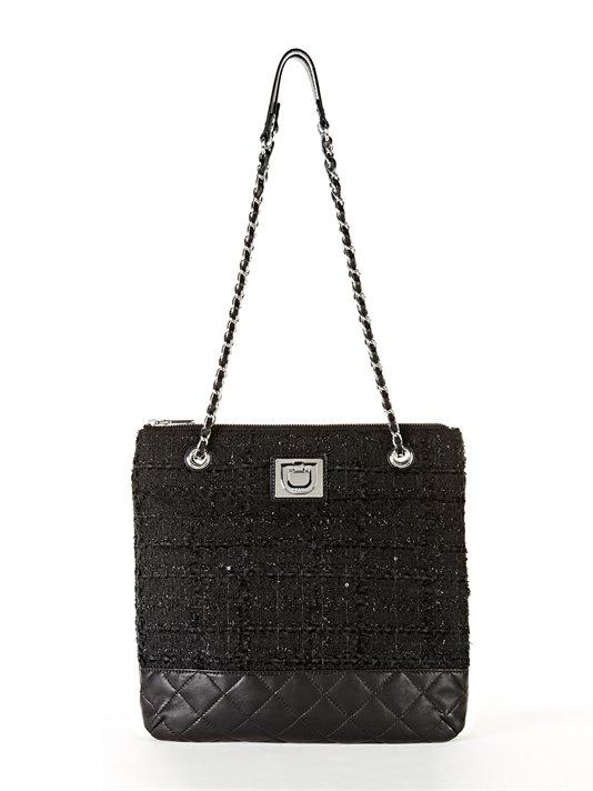 Buy Mixed Material Tweed Chain Crossbody Bag