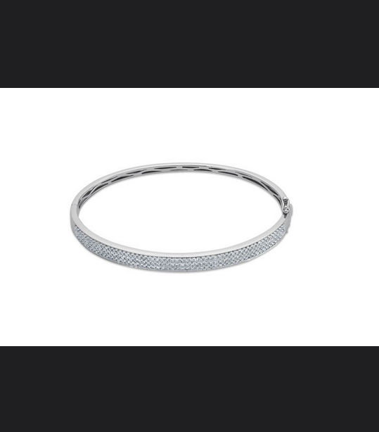 Buy 14K White Gold, Diamond Pave Bangle Bracelet