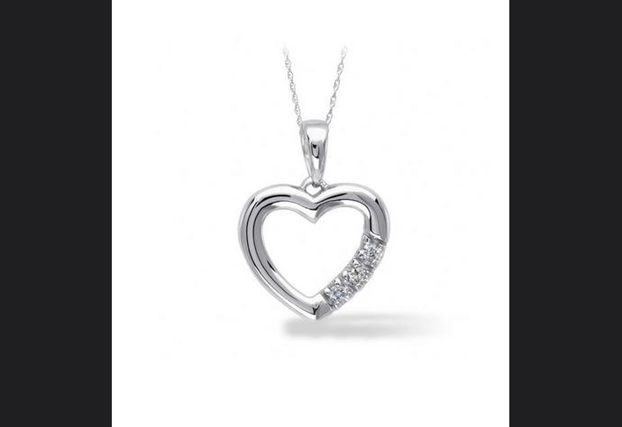 Buy 10K White Gold, Diamond Accent Heart Pendant