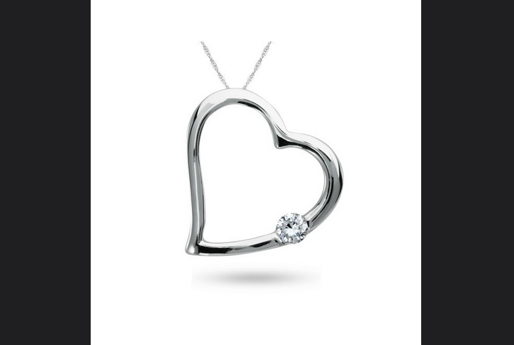 Buy 10K White Gold, Diamond Heart Pendant