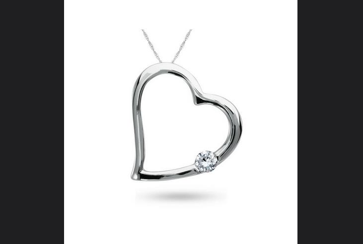 Buy 10K White Gold, Diamond Heart Pendant
