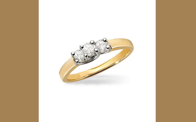Buy 14K Yellow Gold and Platinum Diamond Engagement Ring