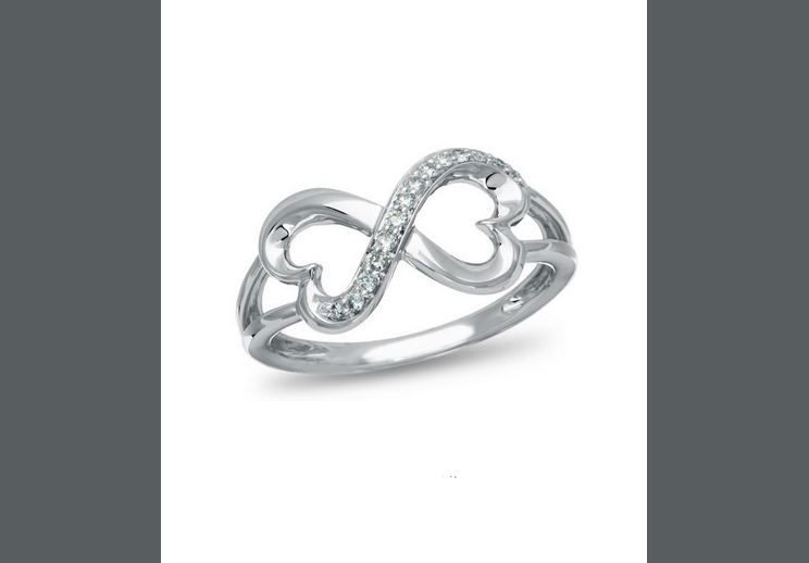 Buy Forever Heart , 10K White Gold and Diamond Accent Ring