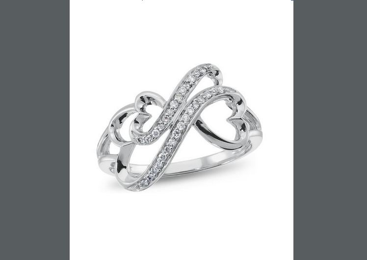 Buy Forever Heart , Silver and Diamond Accent Ring