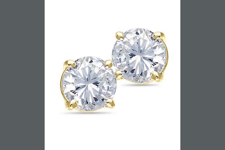 Buy 14K Yellow Gold Solitaire Diamond Earrings