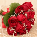 Buy Twelve Rose Hand Tied Bouquet