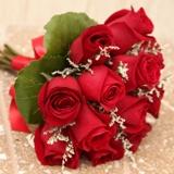 Buy Twelve Rose Hand Tied Bouquet