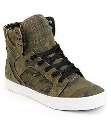 Buy Supra Skytop Green Camo Canvas Skate Shoe