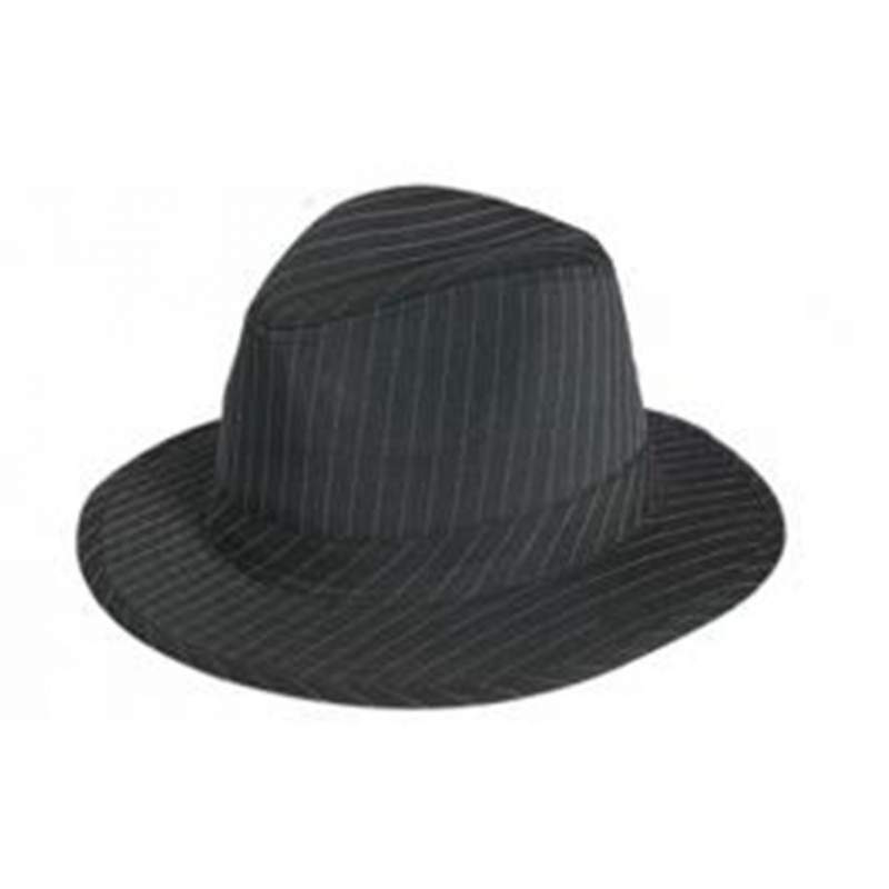 Buy Black Fedora Hat with White Pinstripe