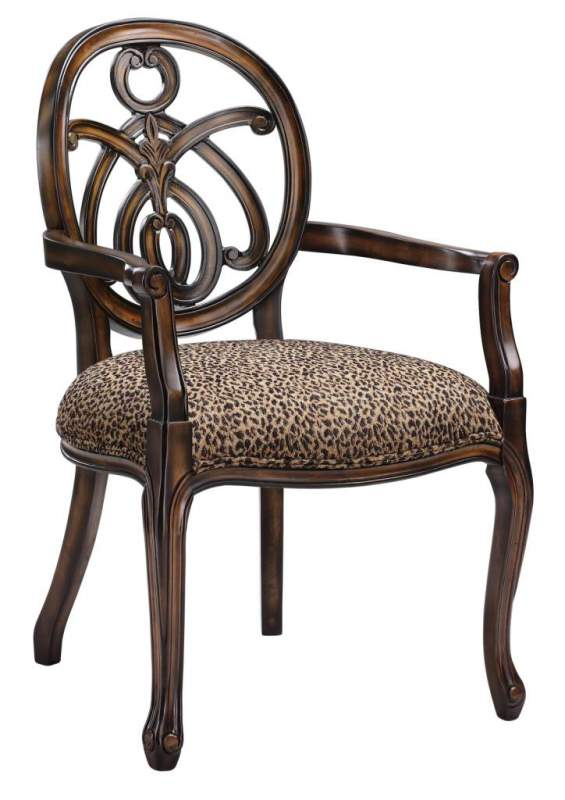 Animal Print Exposed Wood Chair