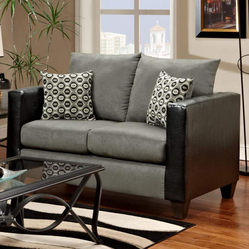 Leather Suede Combo Loveseat