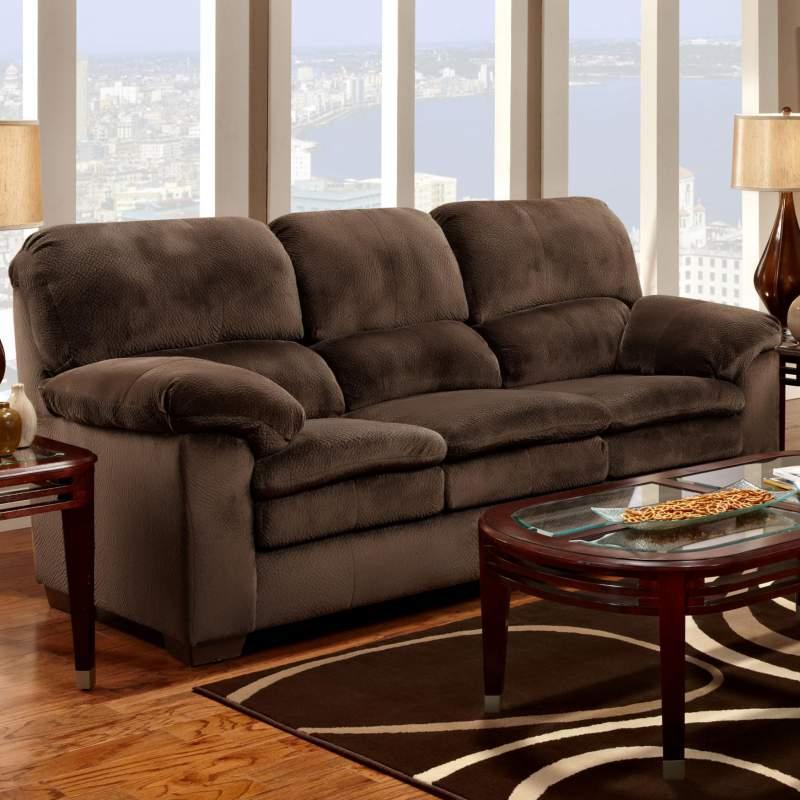 Casual Chocolate Brown Plush Stationary Sofa