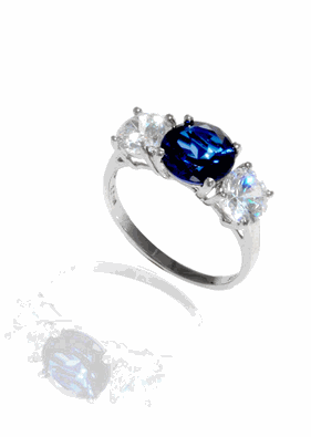 Buy Past-Present-Future Sapphire Sterling Silver Ring