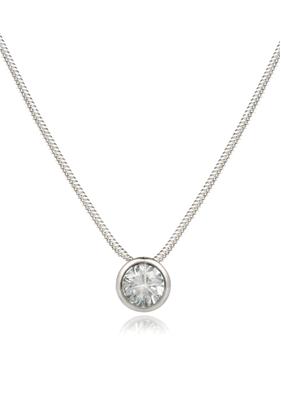 Buy Bezel White Gold Snake Chain Pendant Necklace