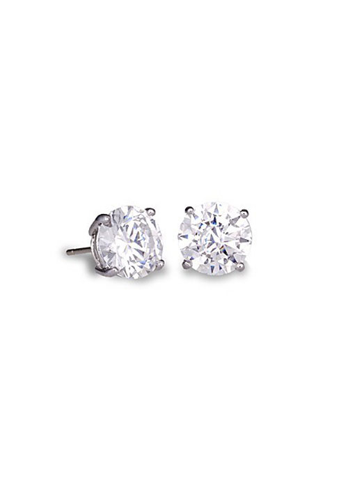 Buy Round Cut Cubic Zirconia White Gold Stud Earrings