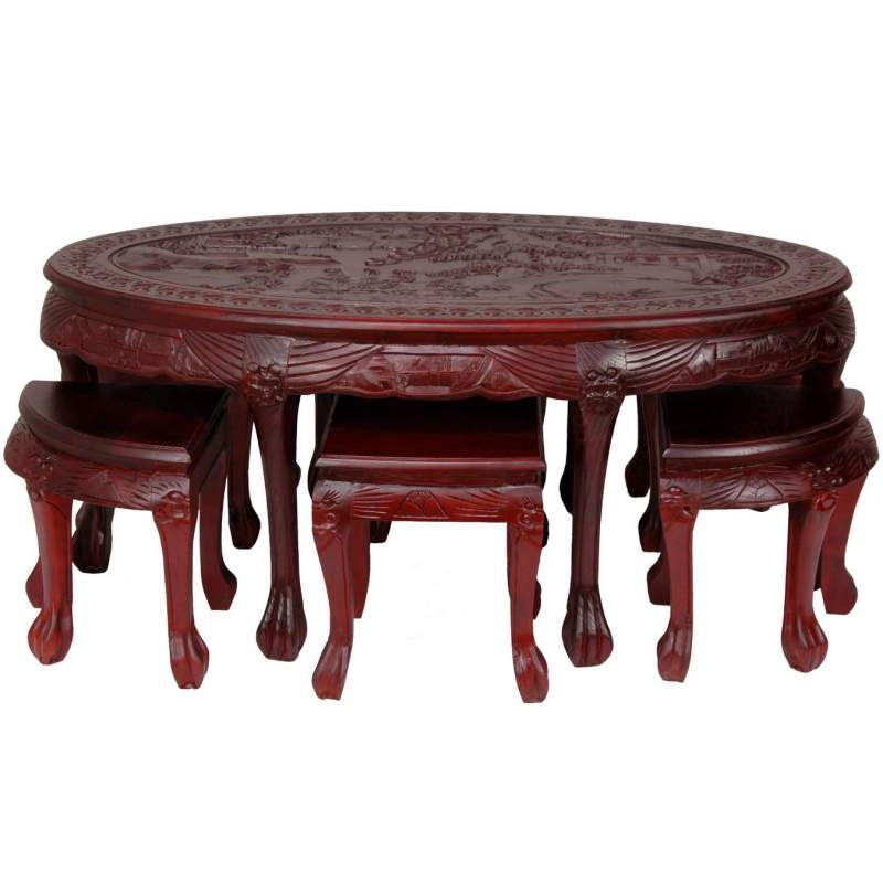Carved Oval Coffee Table With Stools Buy
