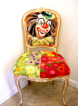 Vintage Needlepoint Clown Chair