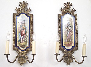 Buy French hand-painted porcelain 2-arm candle wall sconces