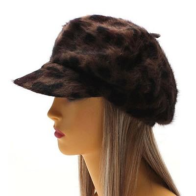 Buy Chic Angora Blend Leopard Animal Print Newsboy Fashion Hat