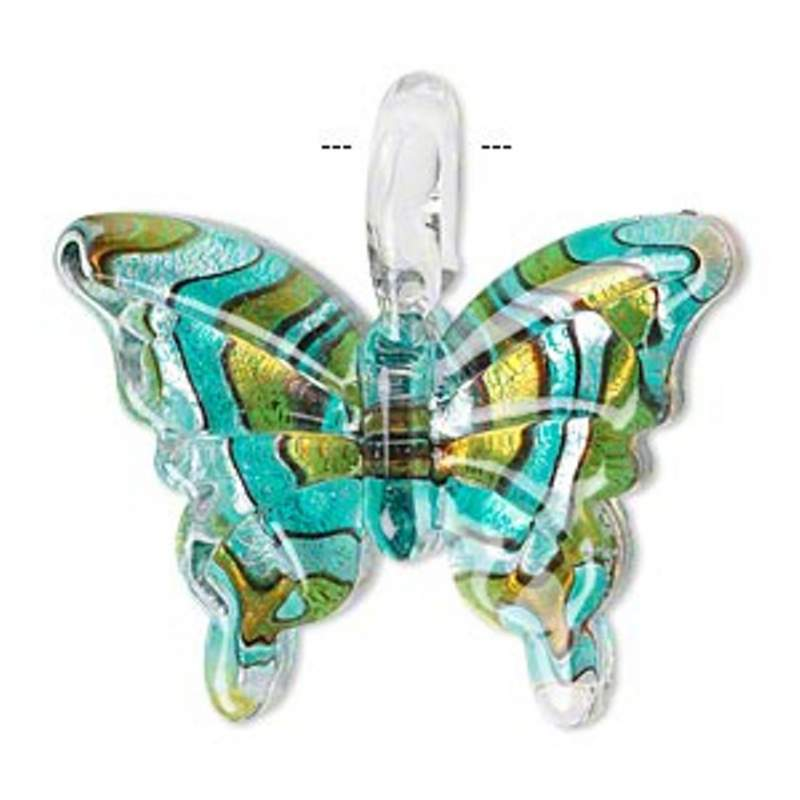 Buy Lampworked glass butterfly pendant