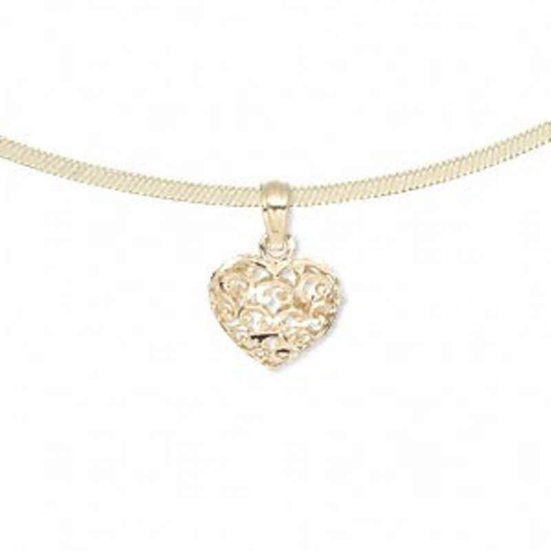 Buy 14-karat gold filigree heart pendant