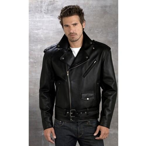 Men's Genuine Cowhide Leather Motorcycle Jacket — Buy Men's ...