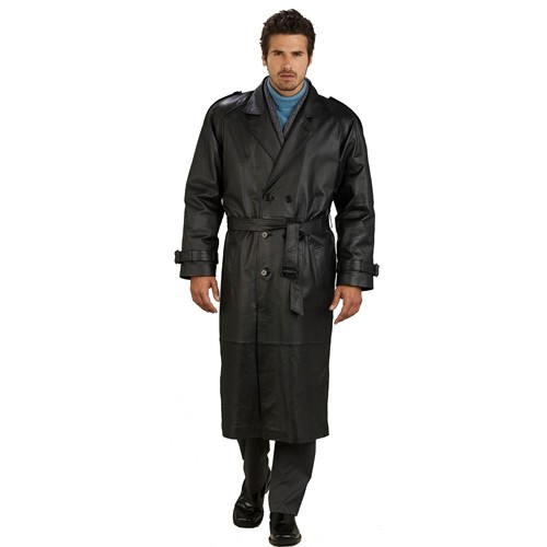 Buy Men's Classic Double-Breasted Leather Trench Coat