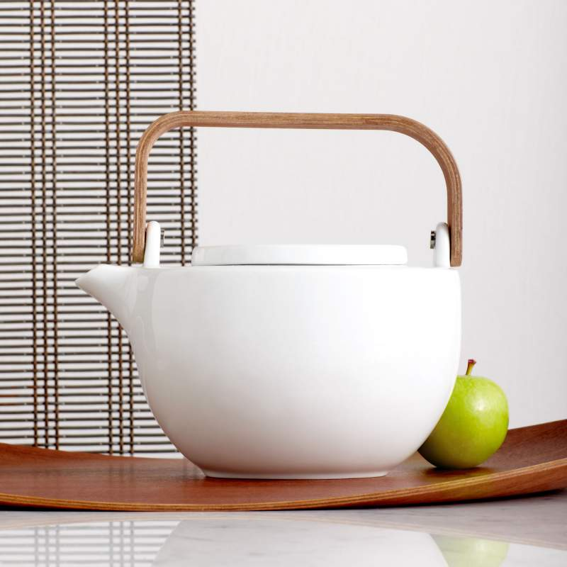 Chava Ceramic Teapot w/ Wooden Handle