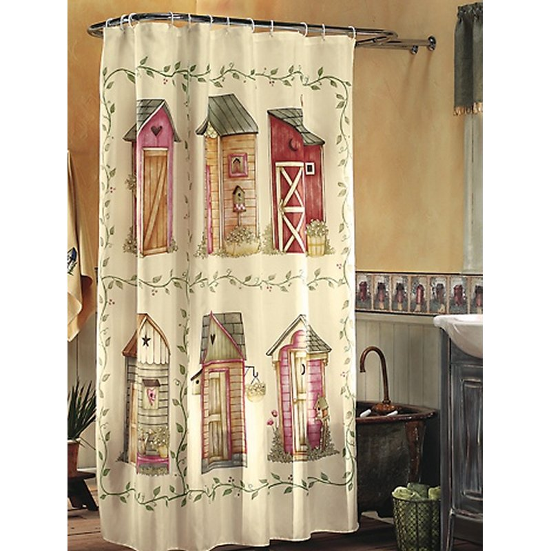 Nostalgic Outhouse Shower Curtain