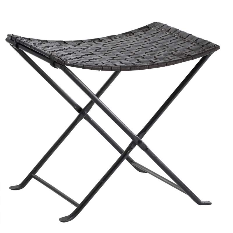Buy Woven Leather Folding Stool