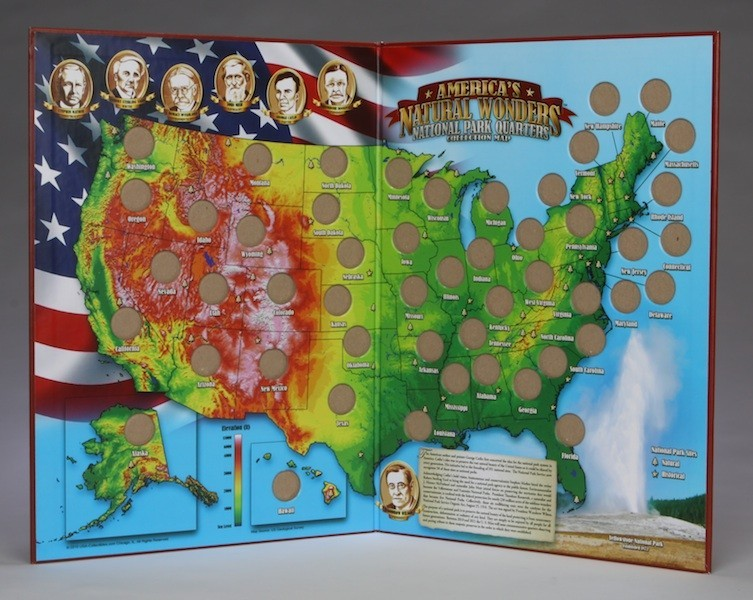 America S Natural Wonders Tm National Park Quarters Collection Map Plus Special