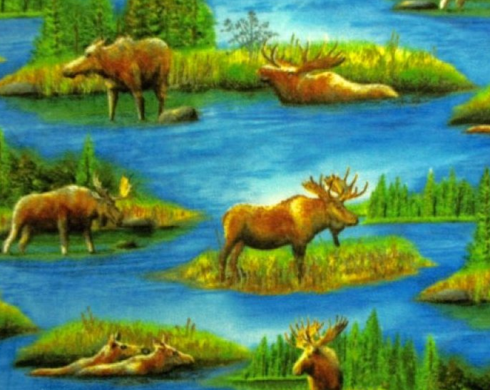 Buy Scenic Moose Print Fabric