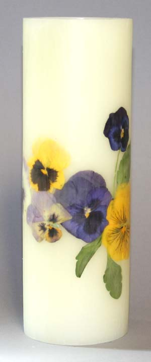 Buy Pansy candle with a plain base