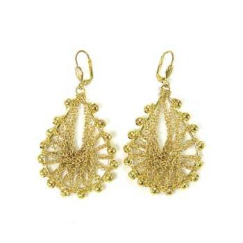 Buy World Finds Gold Metallic Chain Teardrop Earring