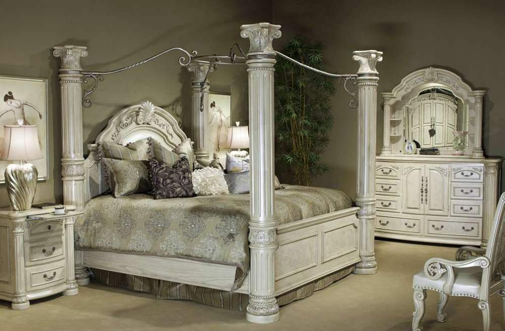 Buy Aico Monte Carlo 2 7 Piece Eastern King Poster Bedroom Set with Canopy Kit