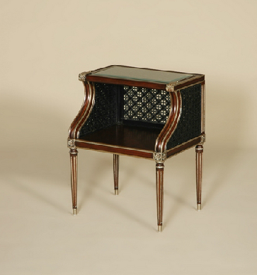 Buy Charleston Mahogany Finished Occasional Table, Rattan and Gilded Accents, Inset Glass
