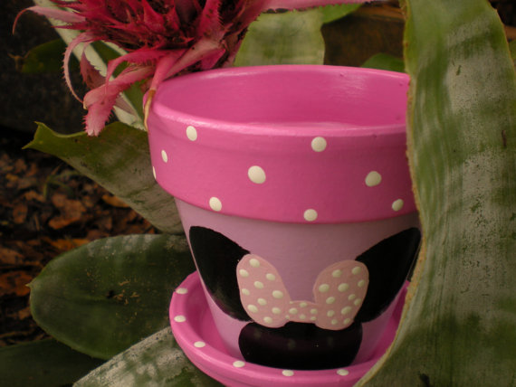 Mouse ears flower pot in pink and lavender with polka dots girls mouse ears flower pot in pink and lavender with polka dots girls room decor mightylinksfo