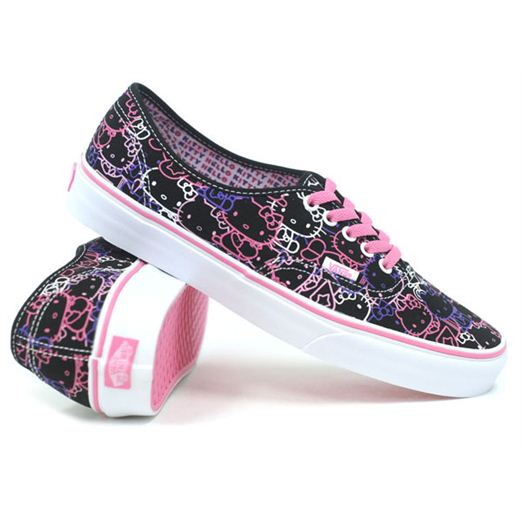 970a813377 Vans Authentic (Hello Kitty Black Passion Flower Pink) Women s Shoes ...