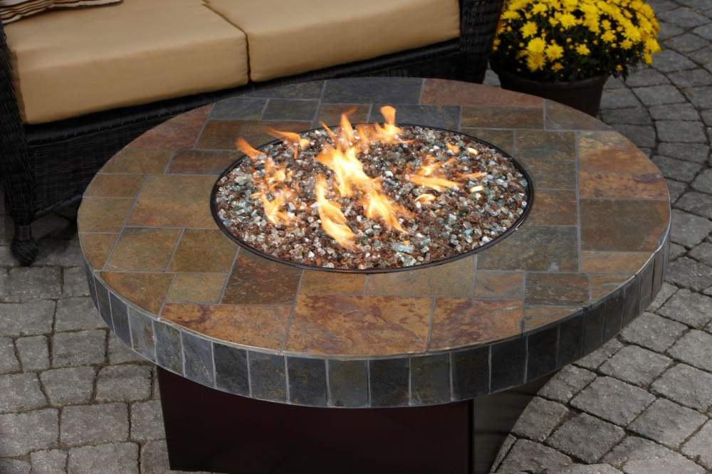 Oriflamme® Fire Table Santa Fe Mosaic Stone Gas Fire Pit