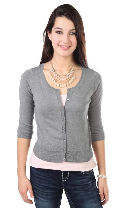 Buy Three Quarter Sleeve Button Front Cardigan